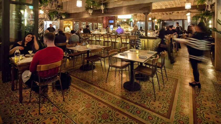 LOS ANGELS, CA - JANUARY 23, 2019 - View of the dinning room and bar at Dama restaurant in downtown