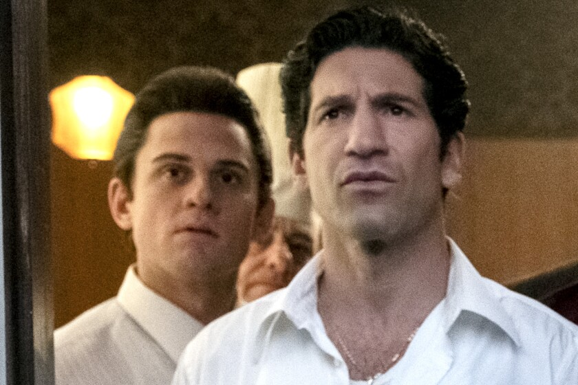 """Billy Magnussen as Paulie Walnuts and Jon Bernthal as Johnny Soprano in """"The Many Saints of Newark."""""""