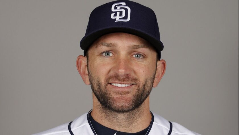 This is a 2018 photo of Shane Peterson of the San Diego Padres baseball team. This image reflects the Padres active roster as of Wednesday, Feb. 21, 2018, when this image was taken. (AP Photo/Charlie Neibergall)
