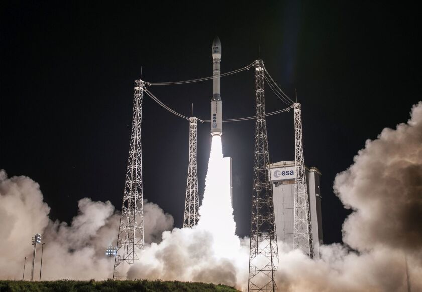 A Vega rocket lifts off in June 2016 from the European Spaceport in Kourou, French Guiana.