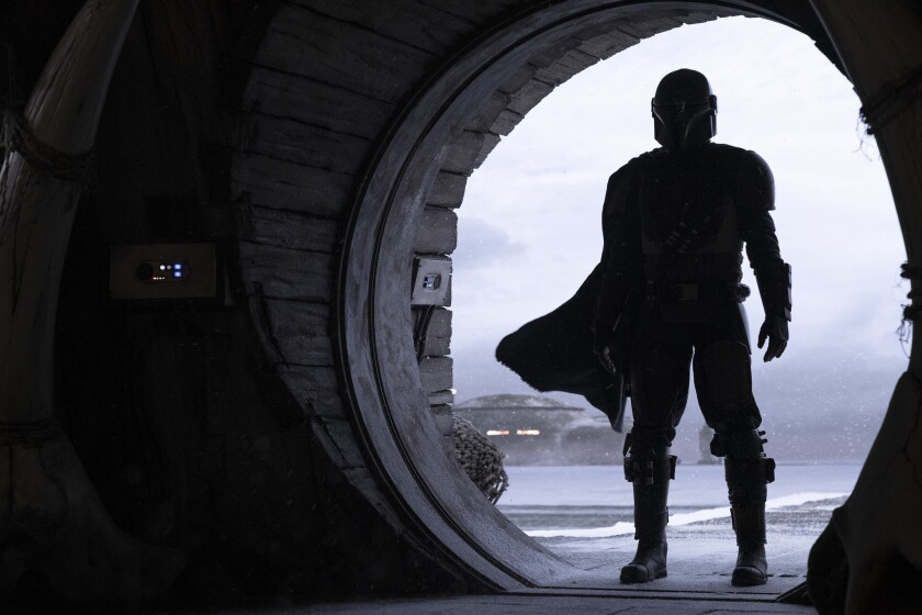 "Pedro Pascal in the Disney+ series ""The Mandalorian."""