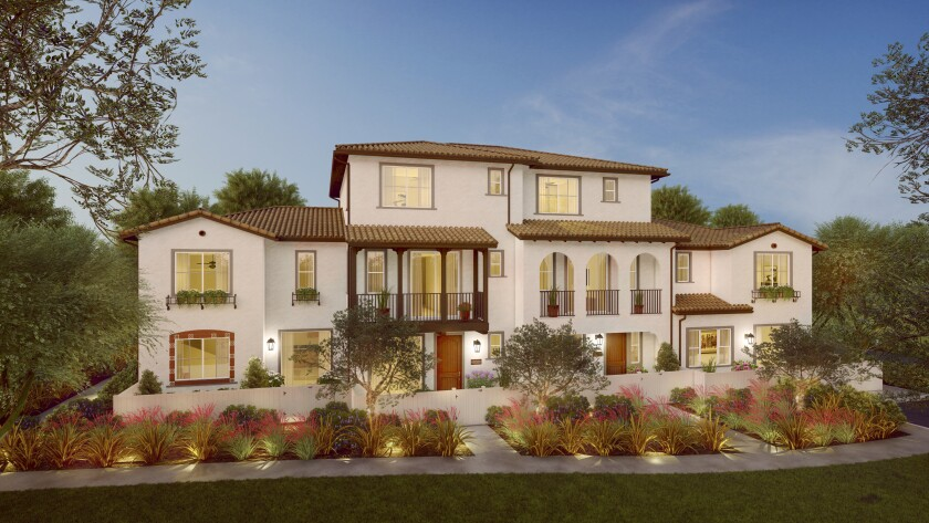 The Cava neighborhood at Rancho Soleo offers two- and three-story townhomes ranging in size from 1,561 to 1,951 square feet, with two to four bedrooms.
