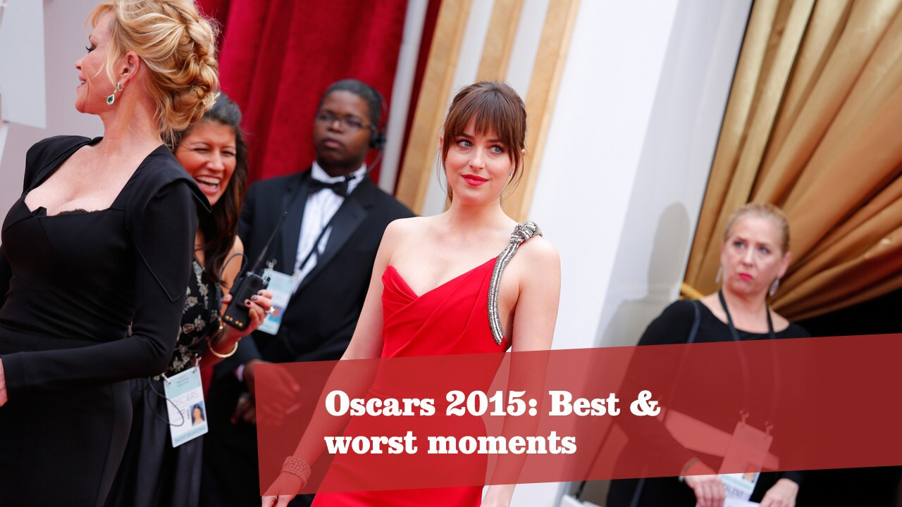 """On the red carpet, """"Fifty Shades of Grey"""" star Dakota Johnson told Ryan Seacrest she took the flogger prop home from the movie. The E! crew seemed confused by the term. You know, the thing with which you flog. More Oscars: Full coverage 