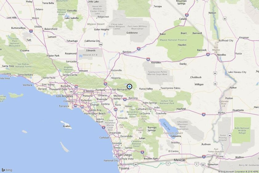 A map showing the location of the epicenter of Friday morning's quake near Big Bear City, Calif..