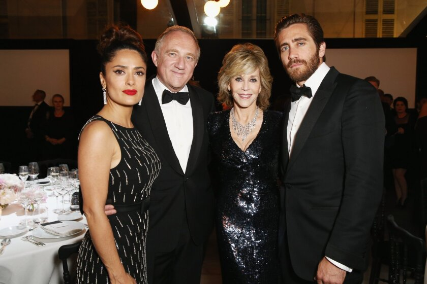 Salma Hayek, left, with her husband, Kering Chief Executive Francois-Henry Pinault, and actors Jane Fonda and Jake Gyllenhaal at the Kering Official Cannes Dinner on May 17.