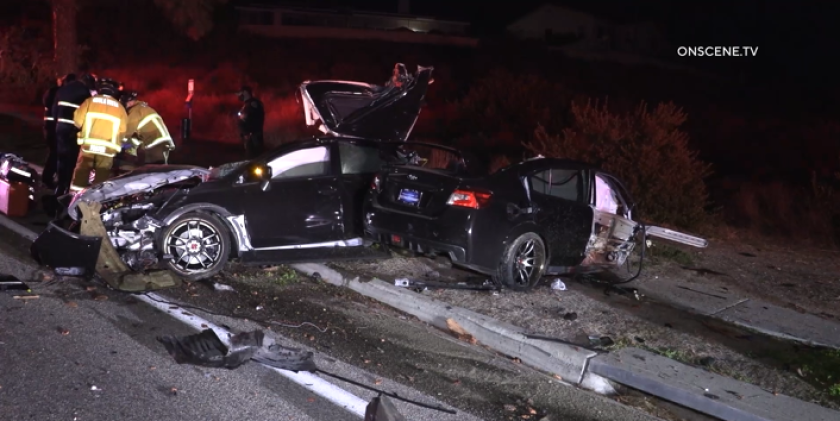 A driver walked away from a crash that split his car in Chula Vista early Sunday.