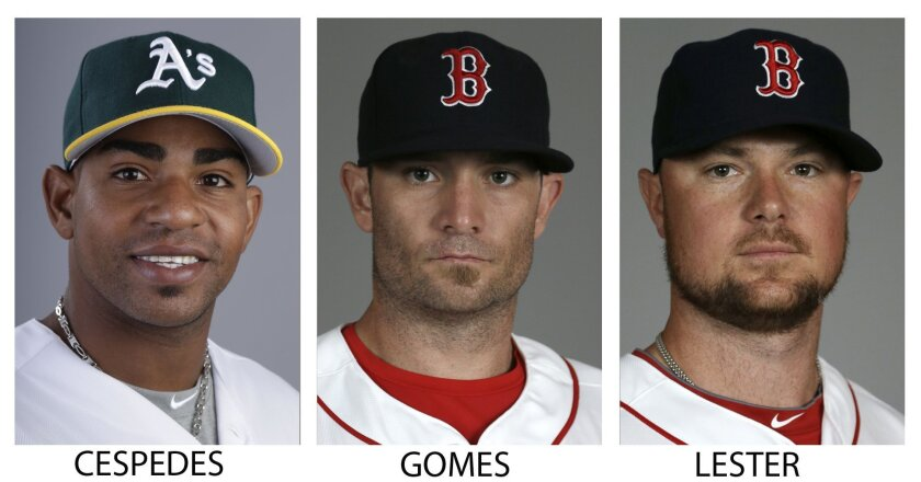 FILE - From left are 2014 file photos showing Oakland Athletics' Yoenis Cespedes, and Boston Red Sox players Jonny Gomes and Jon Lester. A person with knowledge of the trade says the Athletics have won the Jon Lester sweepstakes, acquiring the left-hander along with outfielder Jonny Gomes from the