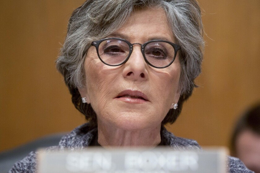 Sen. Barbara Boxer speaks during a Senate Environment and Public Works Committee markup meeting on reauthorization legislation for highway and transit programs in May.