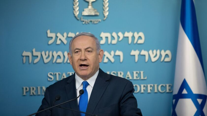 Israeli Prime Minister Benjamin Netanyahu addresses the media at his office in Jerusalem on April 3, 2019.