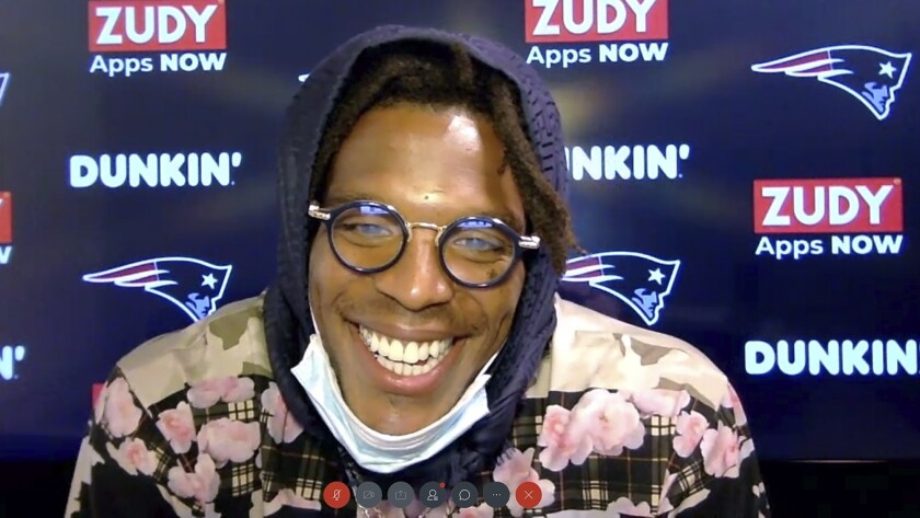 In this still image from a Webex media availability hosted by the New England Patriots, quarterback Cam Newton responds to a question, Friday, Aug. 7, 2020, in Foxborough, Mass. (New England Patriots via AP)