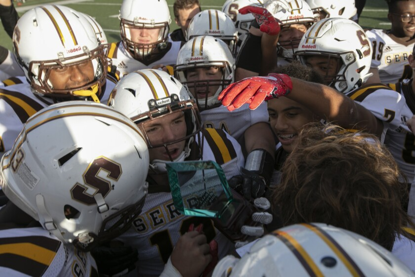 Serra players celebrate their San Diego Section Division IV championship last week.