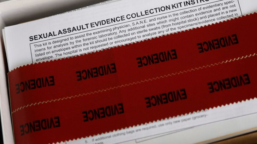 This 2017 photo shows a sexual assault evidence collection kit in Fayetteville, North Carolina. Police agencies across the nation often have big backlogs of untested kits.