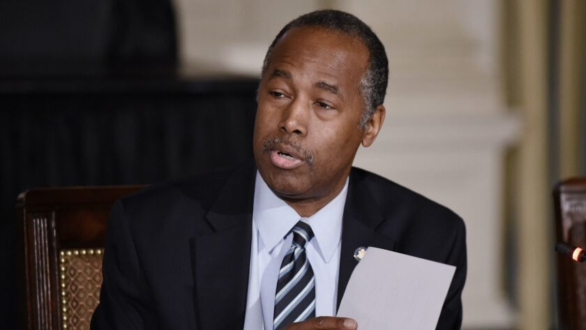 The city of Los Angeles agreed to build or retrofit more than 4,000 apartments for disabled people in a settlement with the U.S. Department of Housing and Urban Development. Above, HUD Secretary Ben Carson.