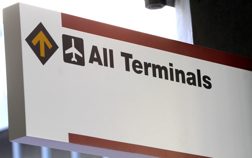 A sign tells travelers how to get from the new transportation center to the Bob Hope Airport. Photographed on Friday, May 16, 2014.