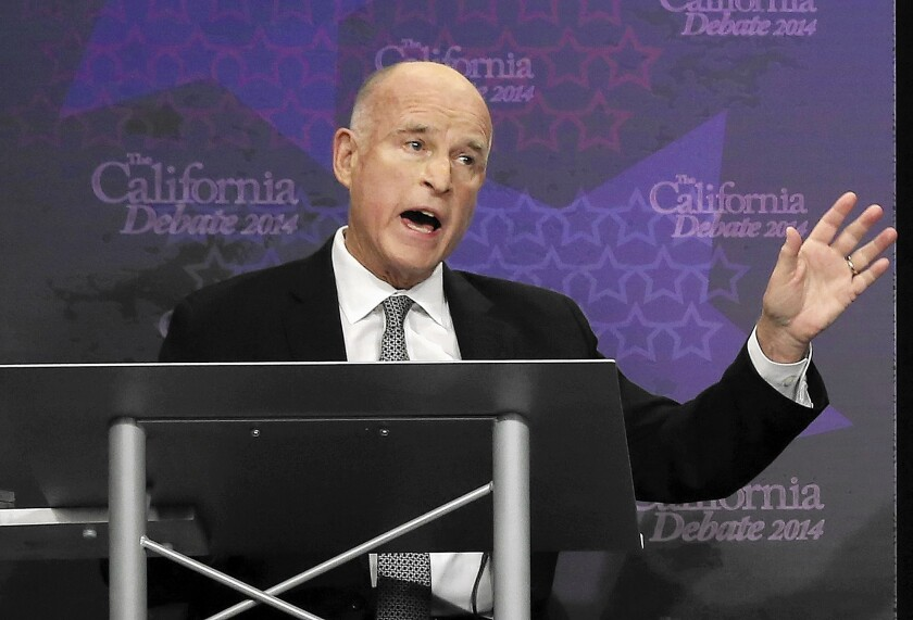 """Gov. Jerry Brown in a recent debate with challenger Neel Kashkari. In September, Brown signed a new law mandating California universities that receive public funding to require students to get """"affirmative, conscious, and voluntary agreement to engage in sexual activity."""""""