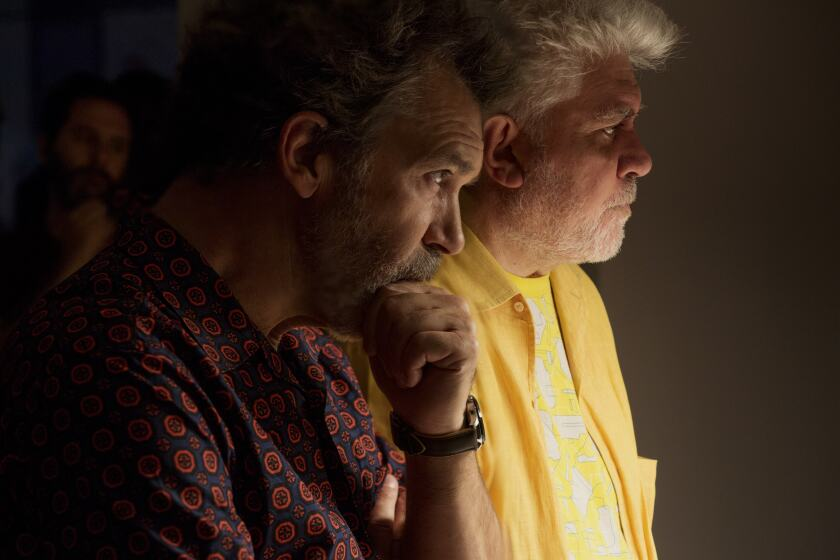 "Antonio Banderas and Pedro Almodóvar during the making of ""Pain and Glory."""
