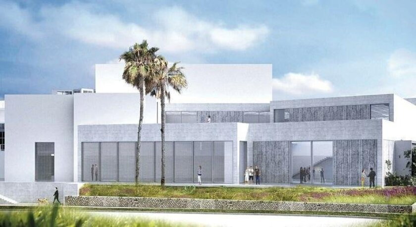 Rendering of a new gallery wing and ocean-view patio proposed for the Museum of Contemporary Art San Diego in La Jolla, as it would appear from Coast Boulevard.