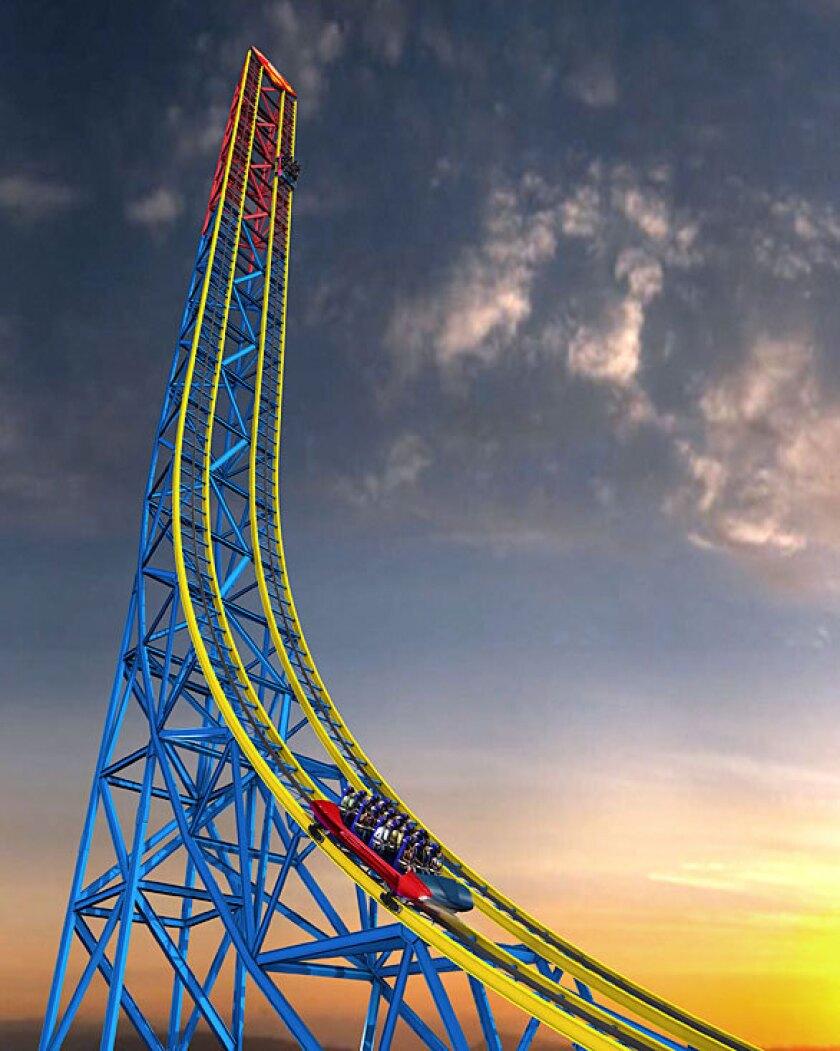 Concept art of Superman: Return to Krypton coaster at Six Flags Magic Mountain