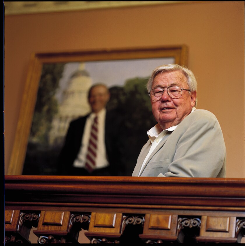 Stuart Spencer and a portrait of former California Gov. Pete Wilson