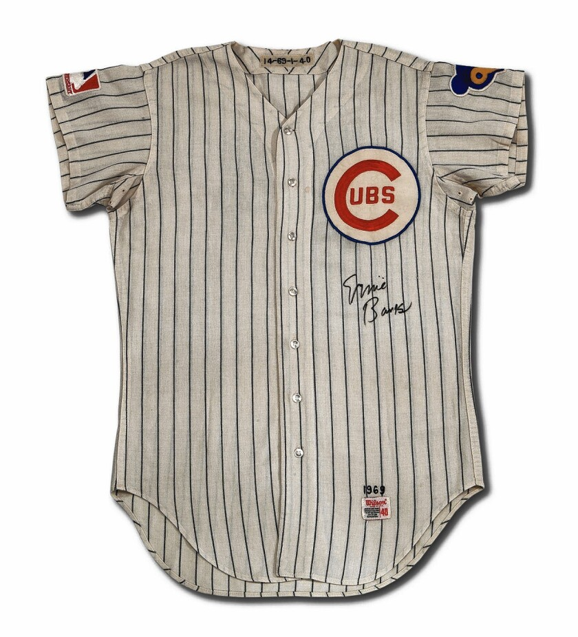 This autographed, game-worn, 1969 Ernie Banks Chicago Cubs jersey sold for nearly $152,000.