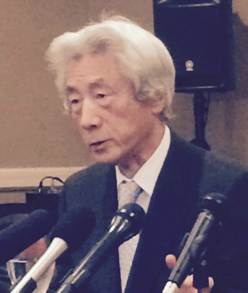 Former Japanese Prime Minister Junichiro Koizumi speaks at a May 2016 press conference in Carlsbad.