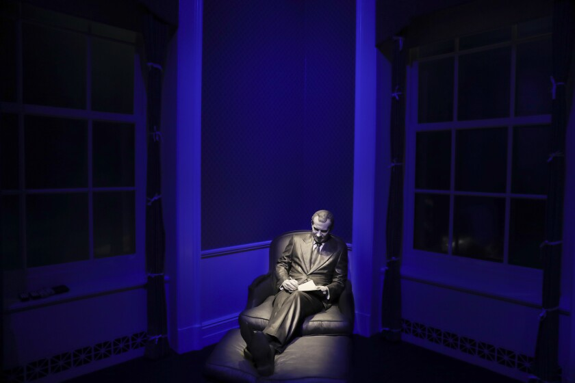 A sculpture of former President  Nixon on display at the Richard Nixon Presidential Library and Museum