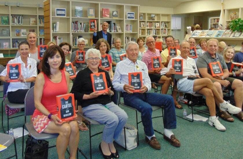 Author Don Winslow with attendees at the recent Rancho Santa Fe Library event.  Photo by Diane Welch