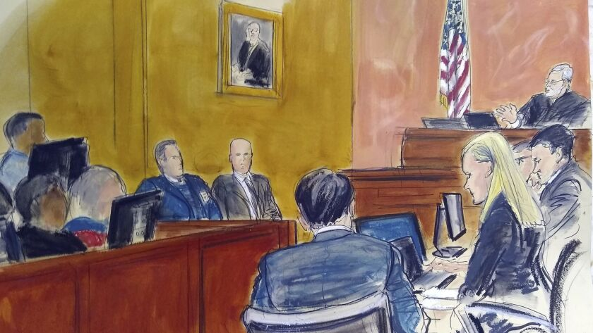 "In this courtroom sketch, Judge Brian Cogan, upper right, instructs the jury in the federal trial of Mexican drug lord Joaquin ""El Chapo"" Guzman in New York on Feb. 4."