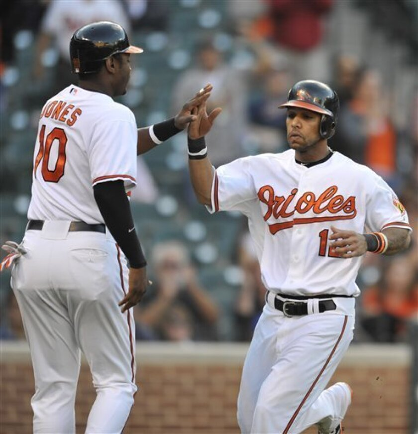 Baltimore Orioles Adam Jones and Robert Andino celebrate scoring on a double by Craig Tatum against the Detroit Tigers during the fourth inning of the first baseball game of a doubleheader Friday, Oct. 1, 2010 in Baltimore.(AP Photo/Gail Burton)