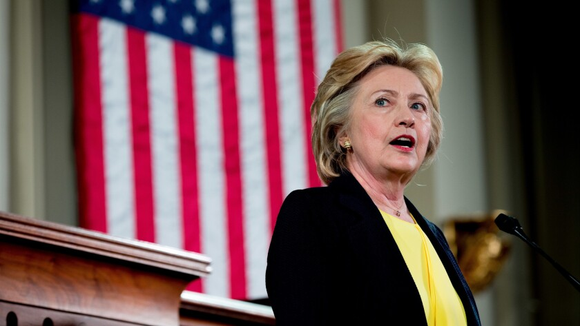 Democratic presidential candidate Hillary Clinton speaks in Springfield, Ill.