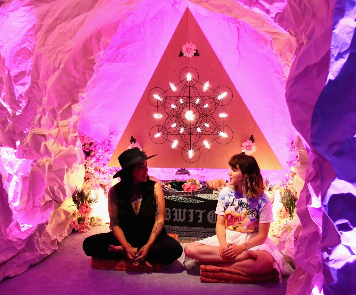 Brie Luna and Executive creative director and co-founder of Refinery29, Piera Luisa Gelardi attend Refinery29 29Rooms New York 2018: Expand Your Reality Opening - Press Preview on September 5, 2018 in Brooklyn, New York.