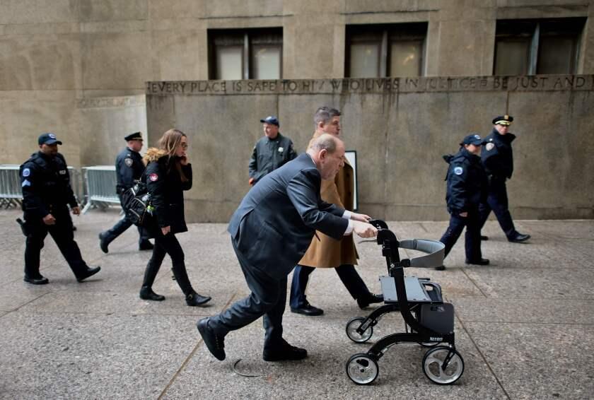 Harvey Weinstein arrives at the  Manhattan Criminal Court on Monday.