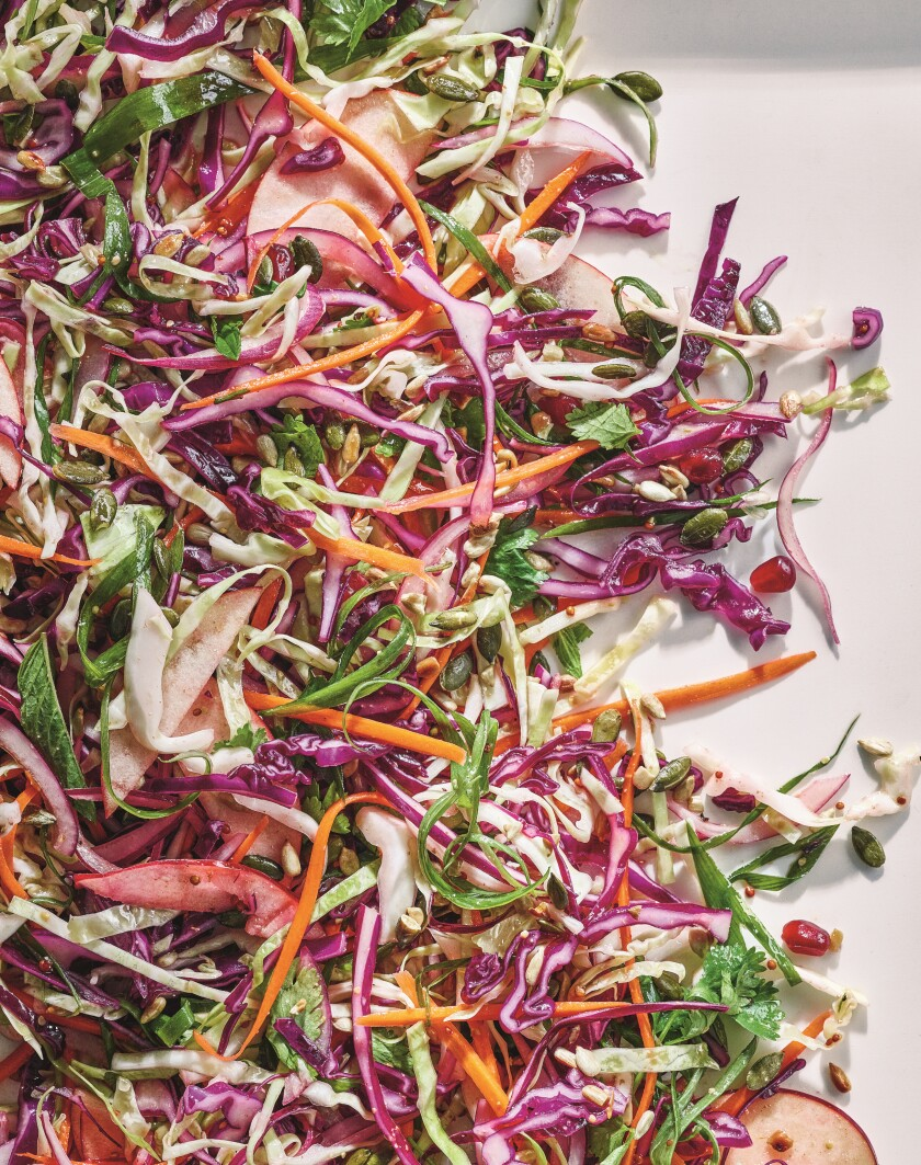 Cabbage apple pomegranate slaw