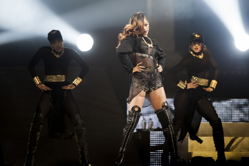 """Rihanna performed at Staples Center, during a stop on her """"Diamonds World Tour, in downtown Los Angeles, April 8, 2013."""