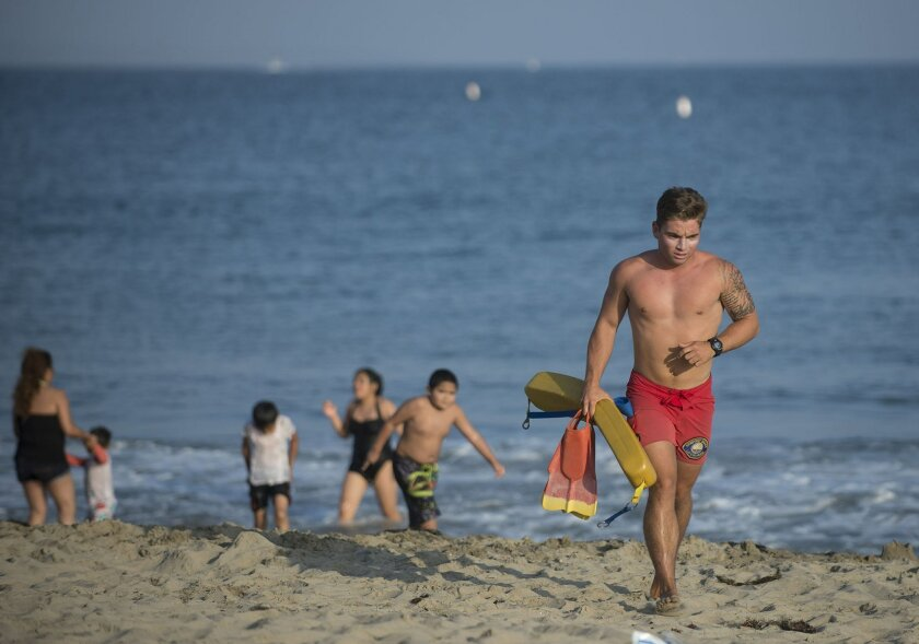 In this Sunday, May 29, 2016, photo, a lifeguard warns beach goers to stay out of the water  at Corona del Mar beach in Newport Beach, Calif. Thousands of Memorial Day beachgoers were kept out of the water Monday as lifeguards searched miles of popular Southern California shoreline for a shark they