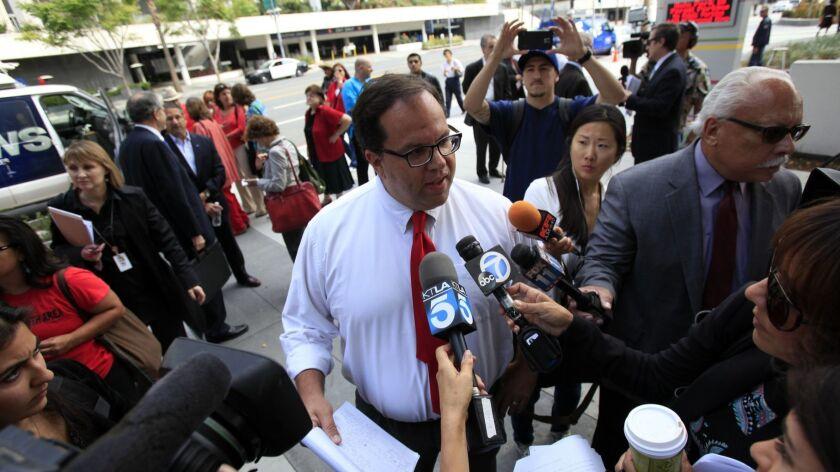 LOS ANGELES, CA - JUNE 10, 2014: President Elect Of UTLA Alex Caputo-Pearl speaks with the media be