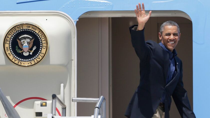 President Barack Obama boards Air Force One after a 2013 summit with Chinese President Xi Jinping at Sunnylands.