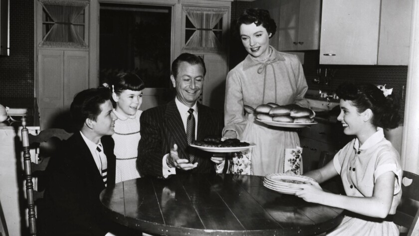 "Billy Gray, Lauren Chapin, Robert Young, Jane Wyatt and Elinor Donahue in ""Father Knows Best."""