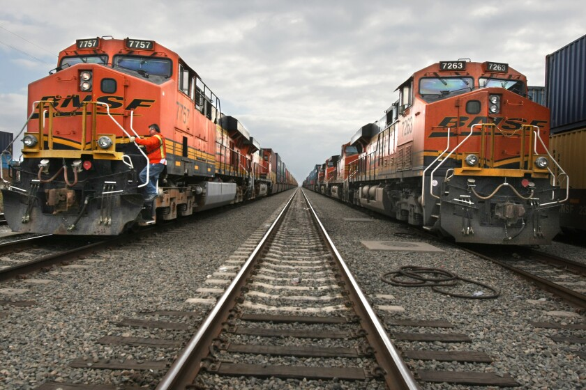 Fully loaded BNSF container trains stage at Pier 400 prior to leaving from the Port of Long Beach to destinations throughout the U.S.