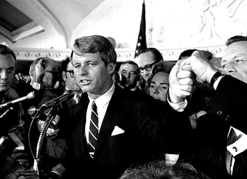Sen. Robert F. Kennedy addresses a throng of supporters in the Ambassador Hotel in Los Angeles early on June 5, 1968