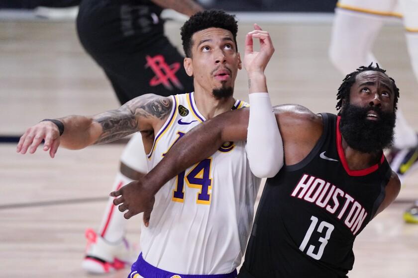 Lakers guard Danny Green battles Houston's James Harden for rebounding position during Game 5 on Sept. 12, 2020.