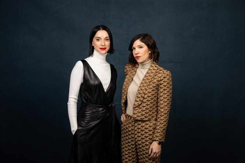 """Annie Clark (a.k.a. St. Vincent), left, and Carrie Brownstein of """"The Nowhere Inn,"""" photographed in the L.A. Times Studio at the Sundance Film Festival."""
