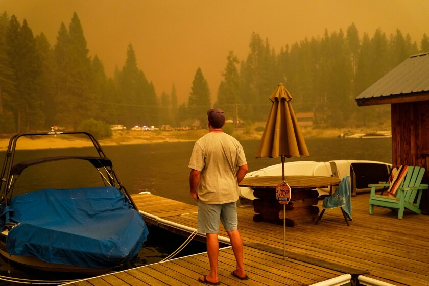 The Creek fire approaches Shaver Lake in September.