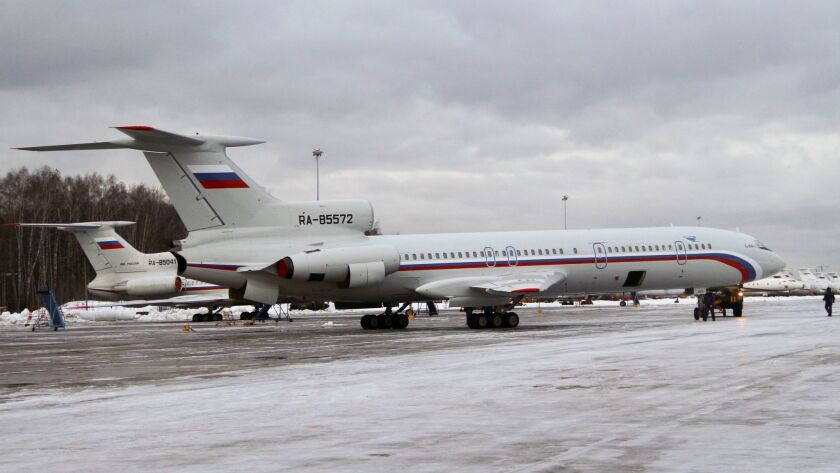 This photo taken on Jan. 15, 2015 shows a Tu-154 plane at Chkalovsky military airport near Moscow, Russia.