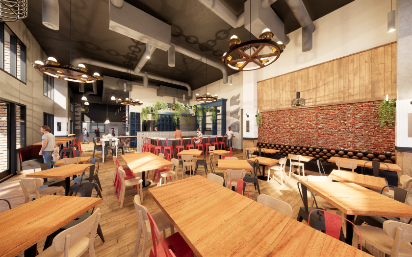 A rendering of Cardellino, which is slated to open in Mission Hills in January, has an eclectic decor that includes wagon wheel light fixtures and casual seating.
