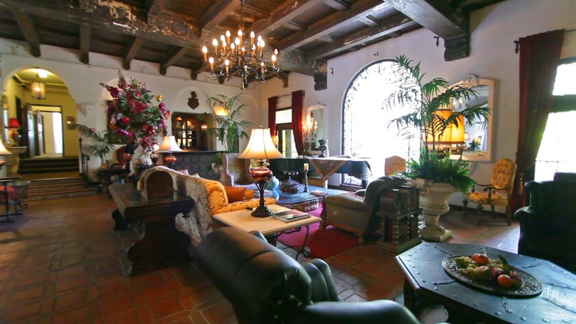 The lobby of the historic Villa Carlotta apartments in Hollywood.