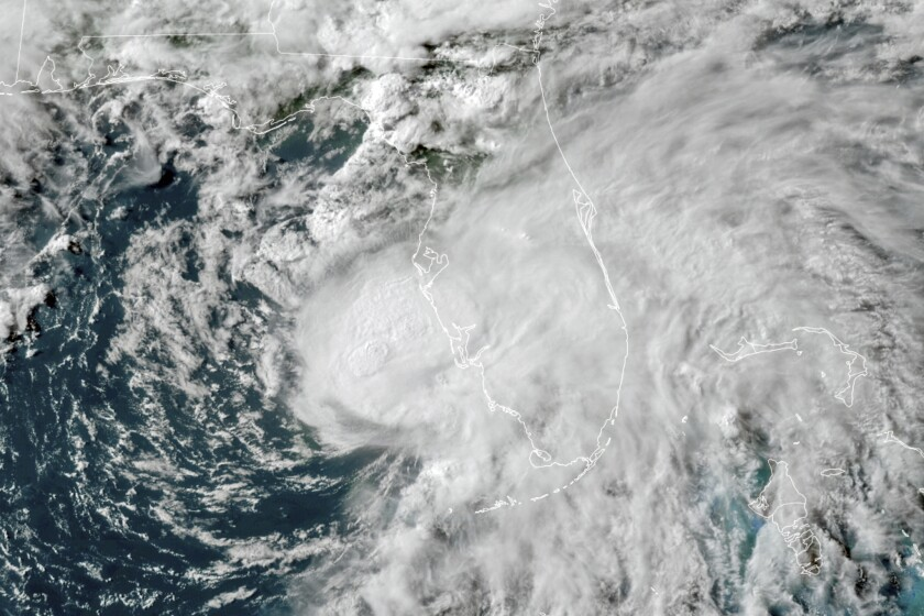 La tormeta tropical Elsa en el Golfo de México, en una foto tomada el 6 de julio de 2021 y suministrada por la Oficina Nacional de Administración Oceánica y Atmosférica (NOAA por sus siglas en inglés). (NOAA via AP, File)