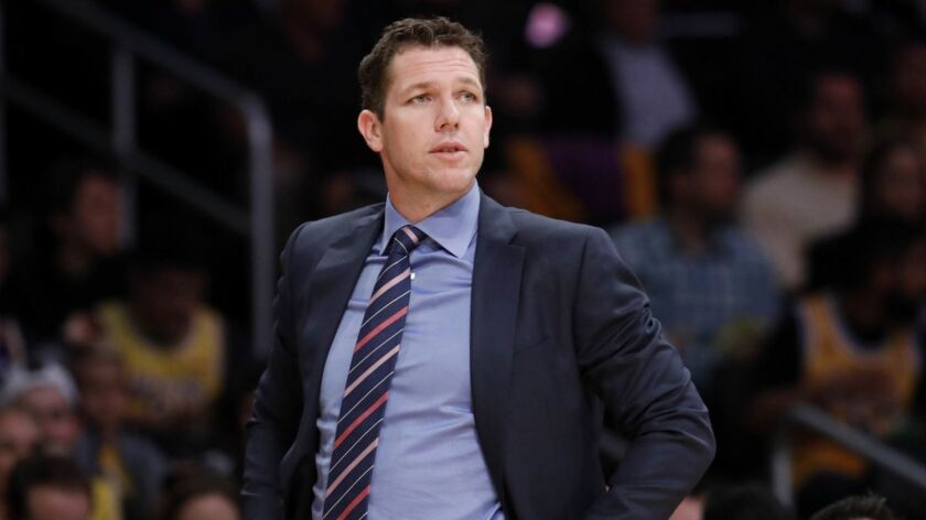 LOS ANGELES, CALIF. -- TUESDAY, APRIL 9, 2019: Los Angeles Lakers head coach Luke Walton in the seco