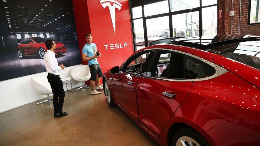 A Tesla Model S in a new showroom in Brooklyn.
