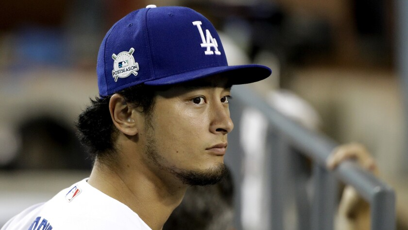 Los Angeles Dodgers pitcher Yu Darvish waits for Game 1 of the baseball team's National League Divis